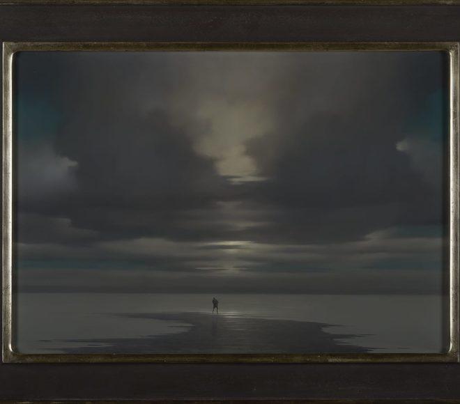 Eenzame visser op het Zeeuwse wad