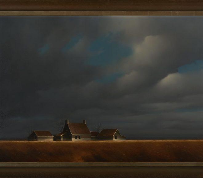 Groot polder landschap met boerderij