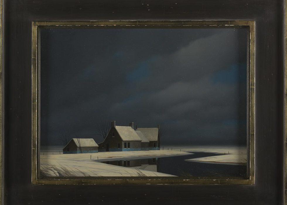 Winter landschap (achter glas)